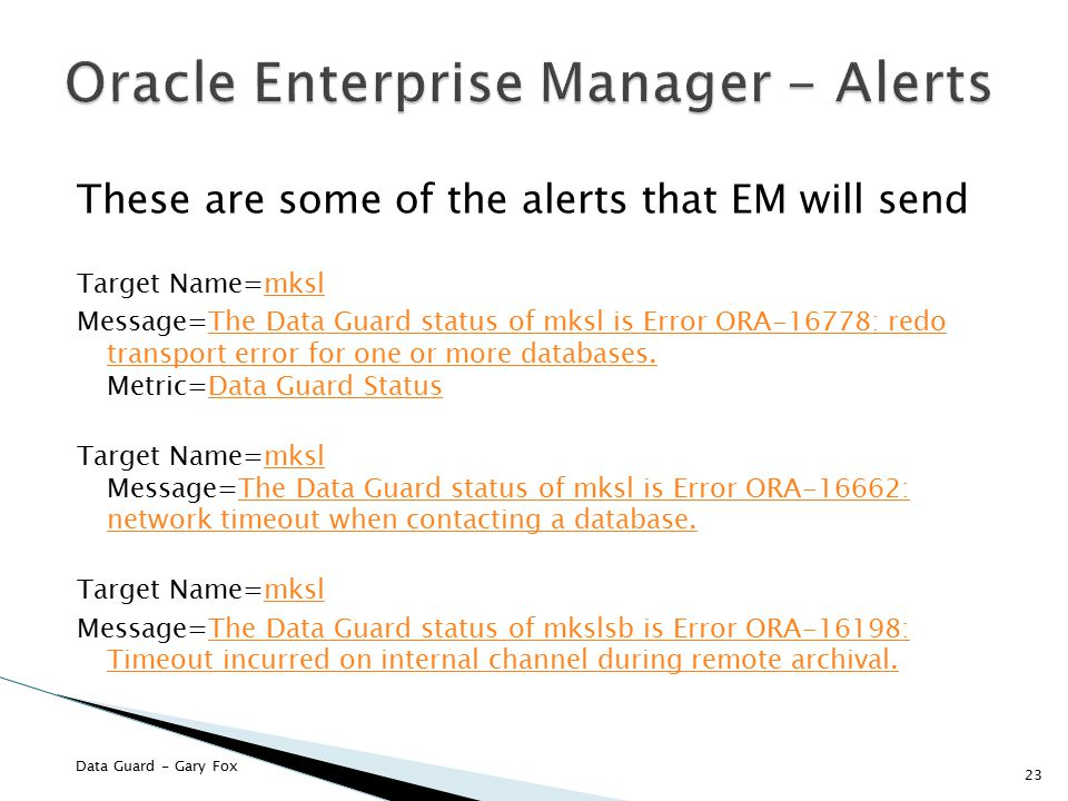 Oracle Enterprise Manager - Alerts