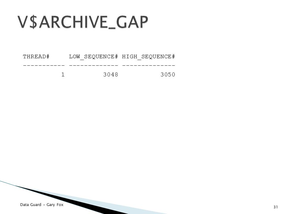 V$ARCHIVE_GAP THREAD# LOW_SEQUENCE# HIGH_SEQUENCE# ----------- ------------- -------------- 1 3048 3050