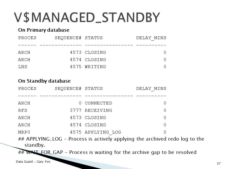 V$MANAGED_STANDBY