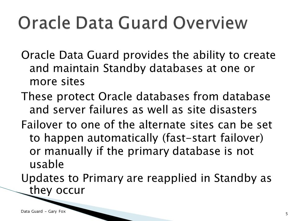 Oracle Data Guard Overview