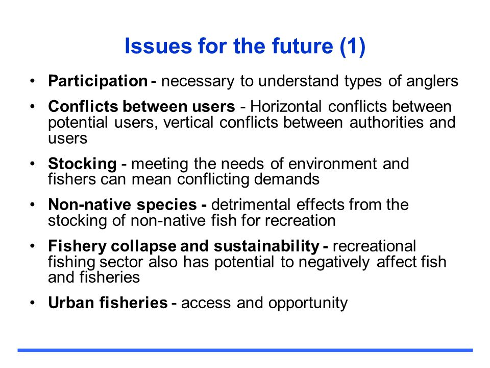 Issues for the future (1)