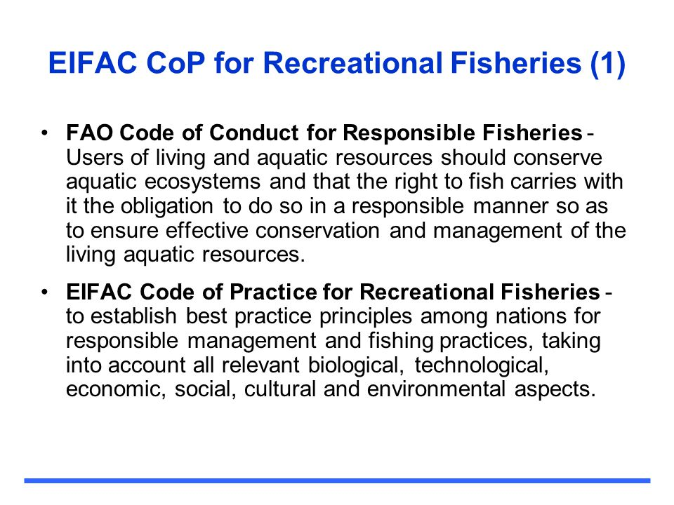 EIFAC CoP for Recreational Fisheries (1)