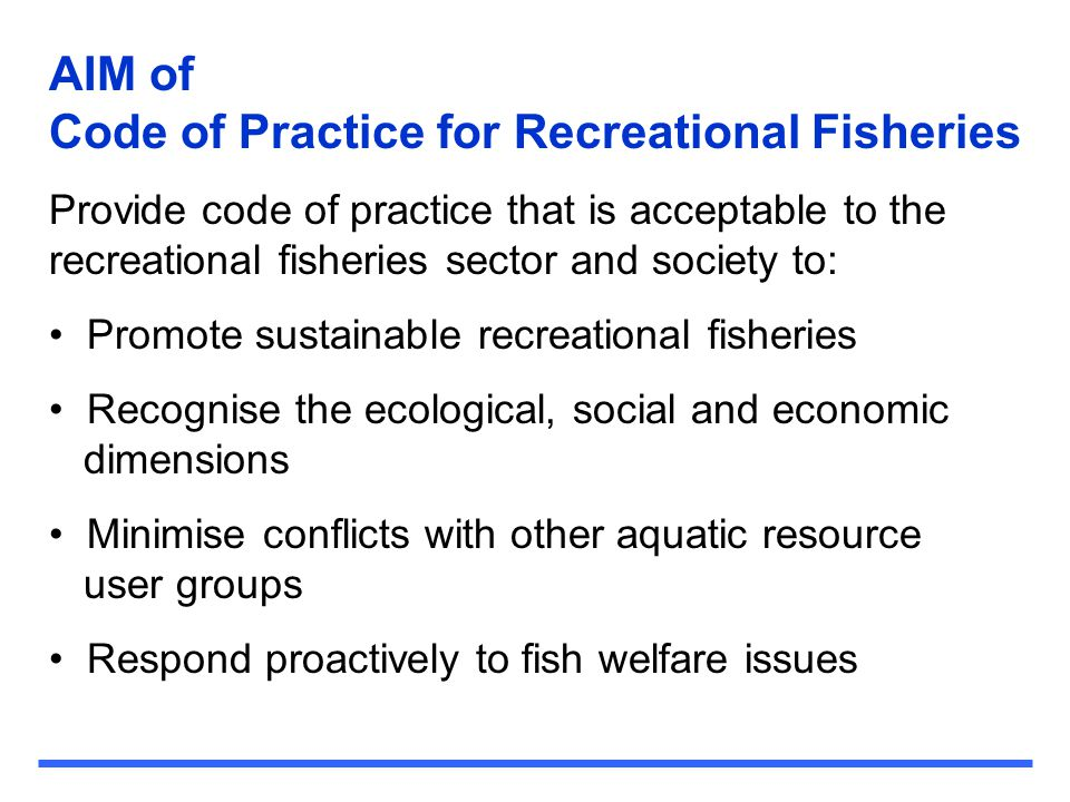 Code of Practice for Recreational Fisheries