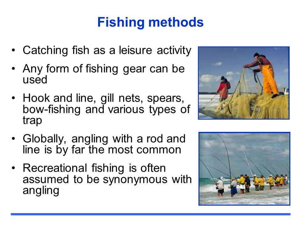 Fishing methods Catching fish as a leisure activity