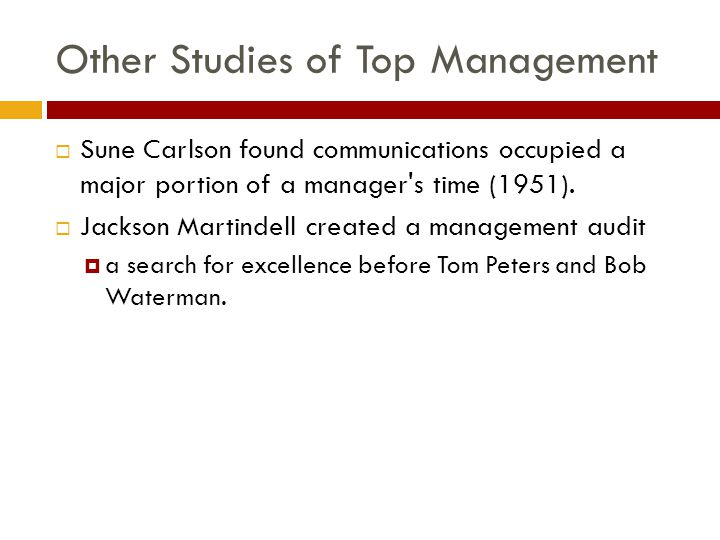 Other Studies of Top Management