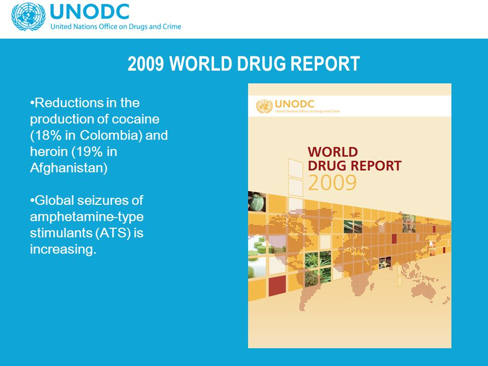 2009 WORLD DRUG REPORT Reductions in the production of cocaine (18% in Colombia) and heroin (19% in Afghanistan)