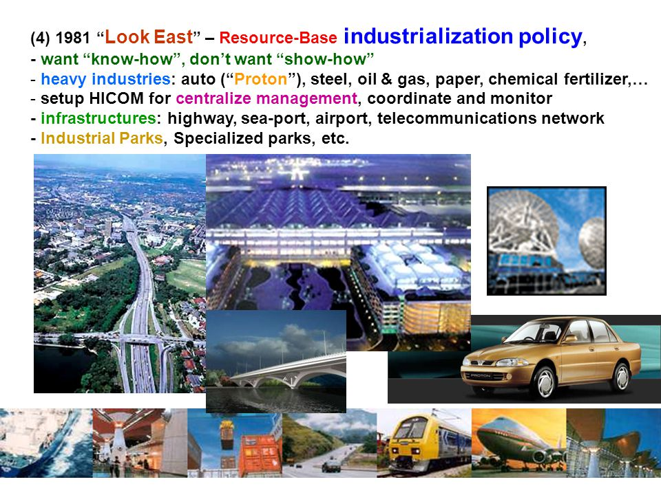 (4) 1981 Look East – Resource-Base industrialization policy,