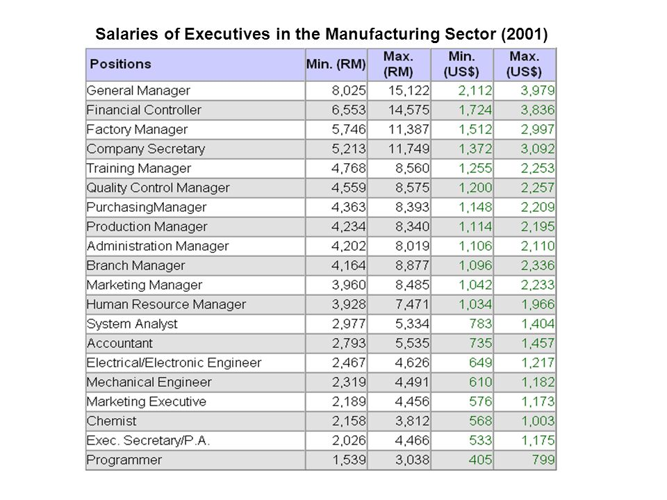 Salaries of Executives in the Manufacturing Sector (2001)