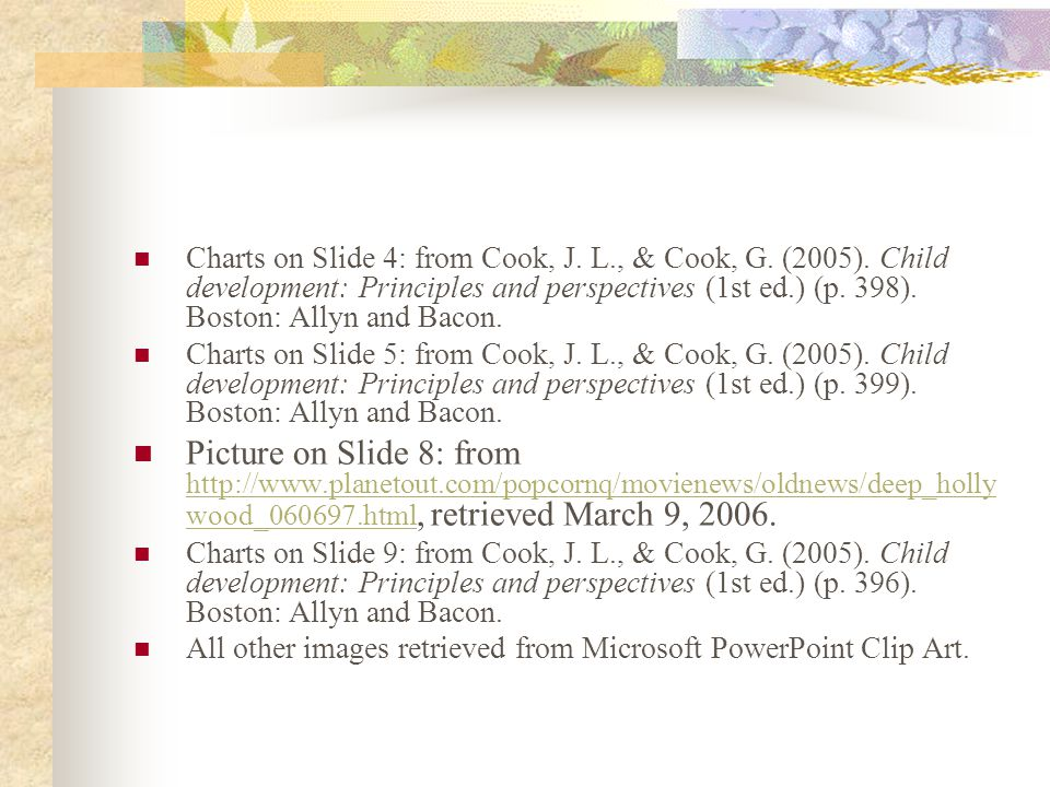 Charts on Slide 4: from Cook, J. L. , & Cook, G. (2005)