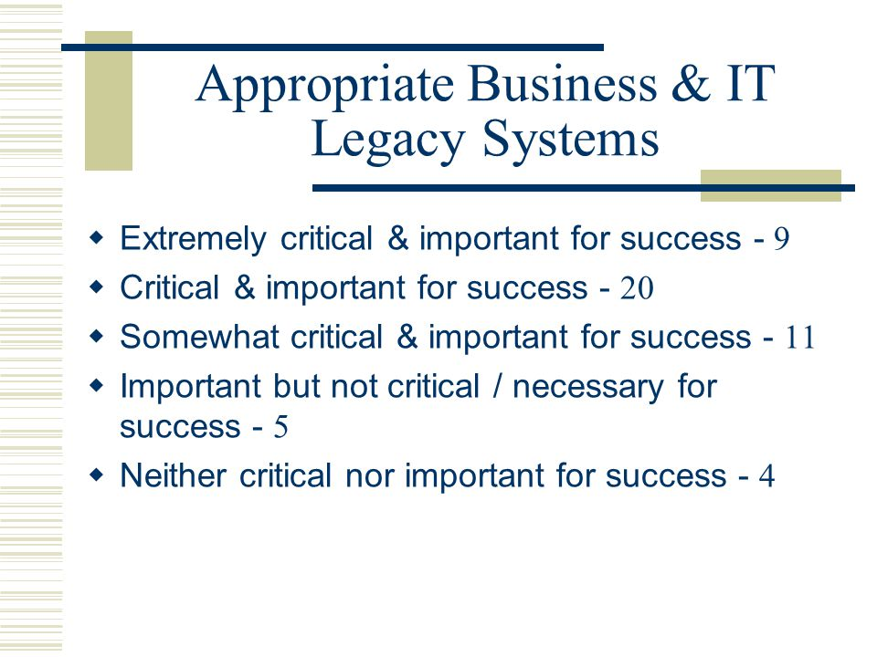 Appropriate Business & IT Legacy Systems