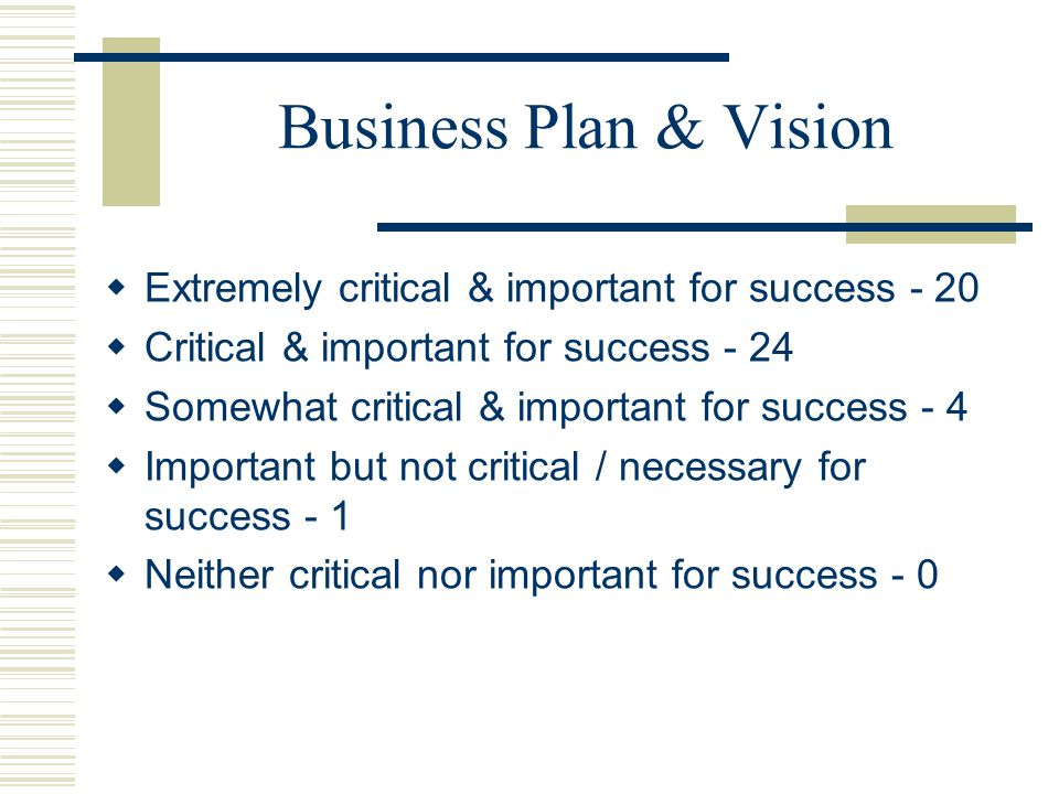 Business Plan & Vision Extremely critical & important for success - 20