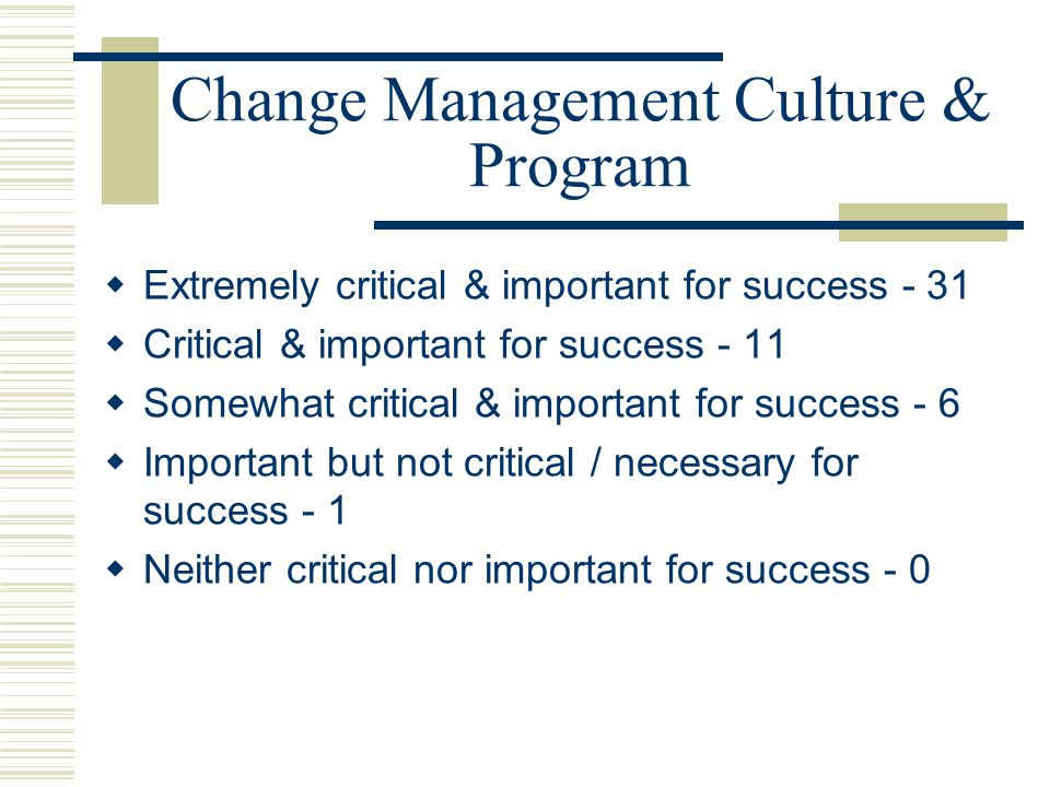 Change Management Culture & Program