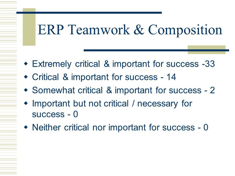 ERP Teamwork & Composition