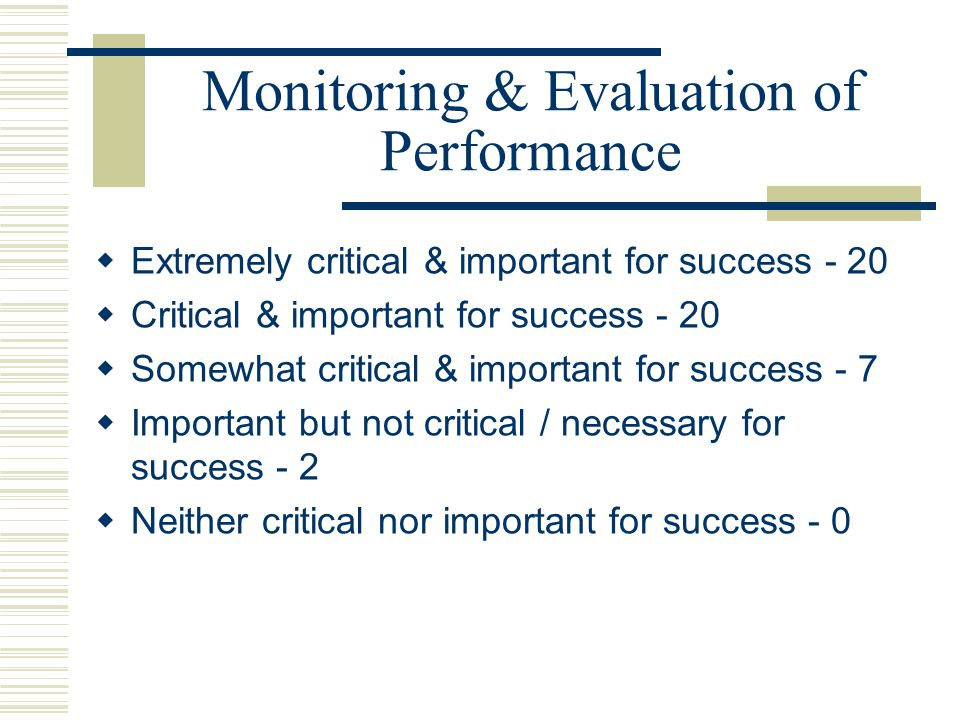 Monitoring & Evaluation of Performance
