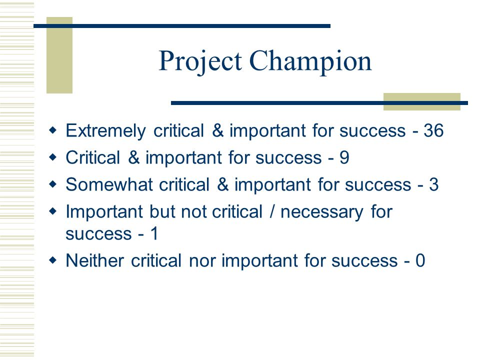 Project Champion Extremely critical & important for success - 36