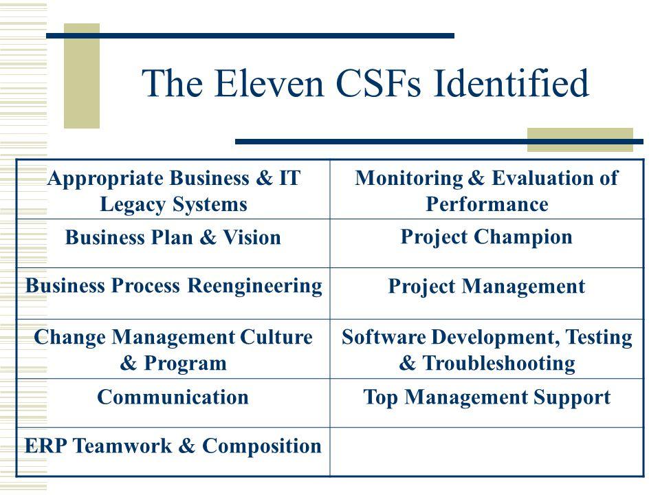 The Eleven CSFs Identified