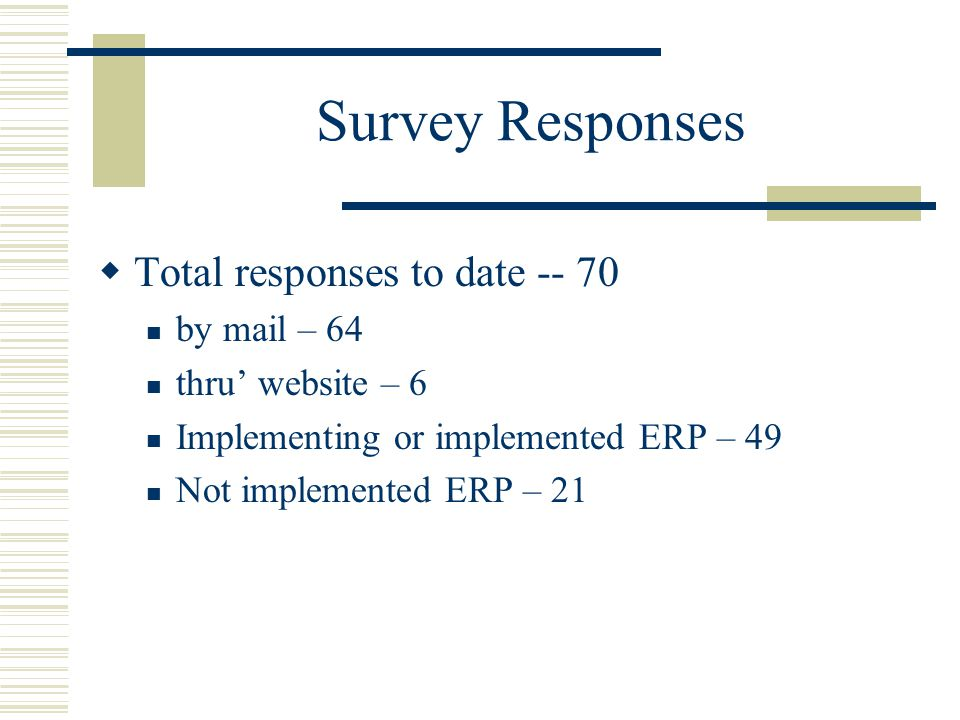 Survey Responses Total responses to date -- 70 by mail – 64