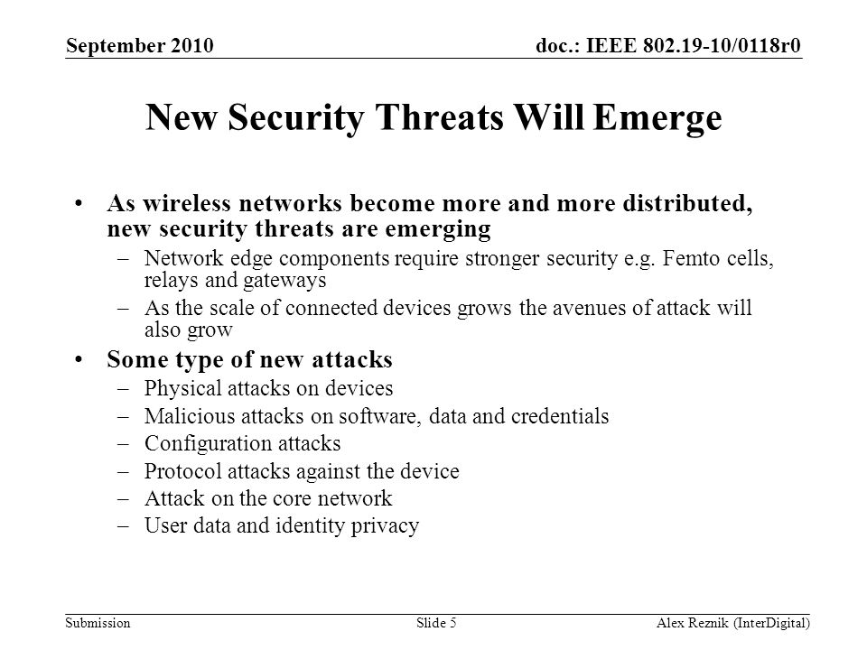 New Security Threats Will Emerge