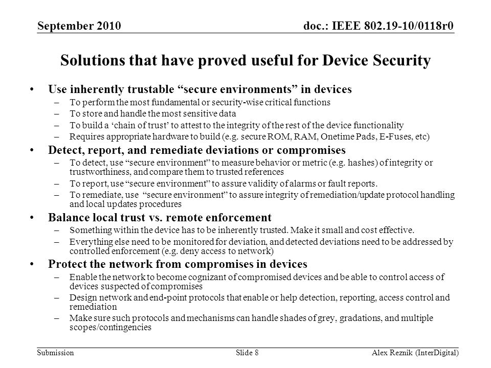 Solutions that have proved useful for Device Security