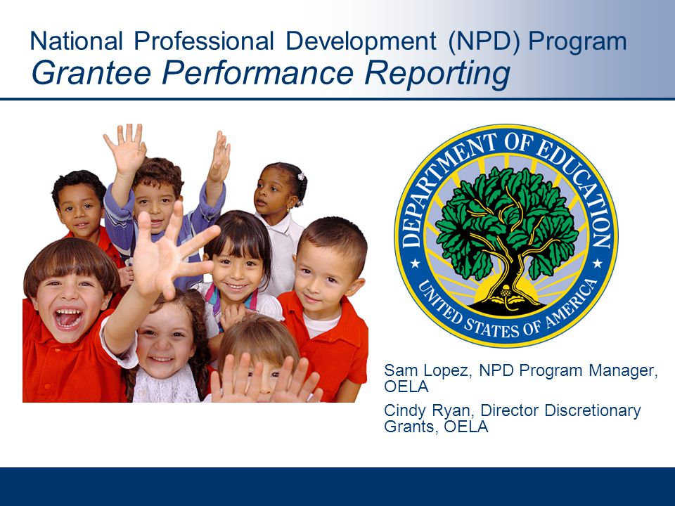 National Professional Development (NPD) Program Grantee Performance Reporting