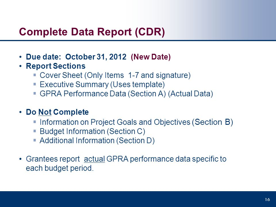 Complete Data Report (CDR)