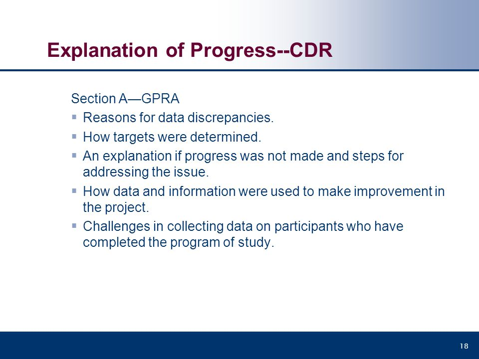 Explanation of Progress--CDR