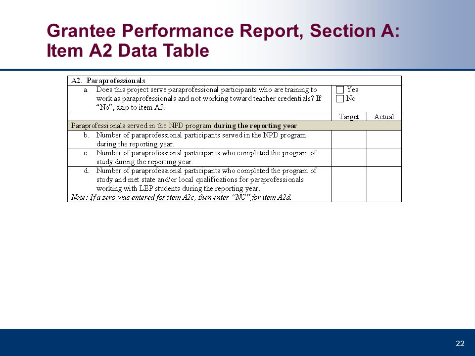 Grantee Performance Report, Section A: Item A2 Data Table