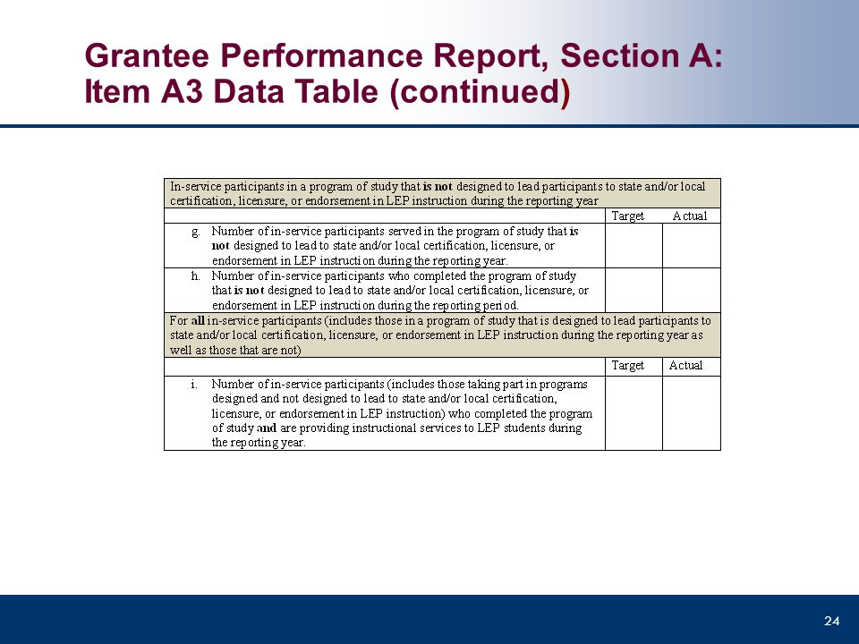 Grantee Performance Report, Section A: Item A3 Data Table (continued)