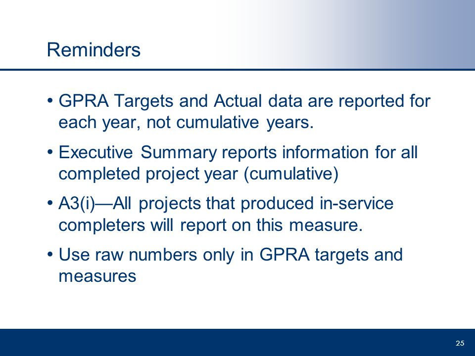 Reminders GPRA Targets and Actual data are reported for each year, not cumulative years.