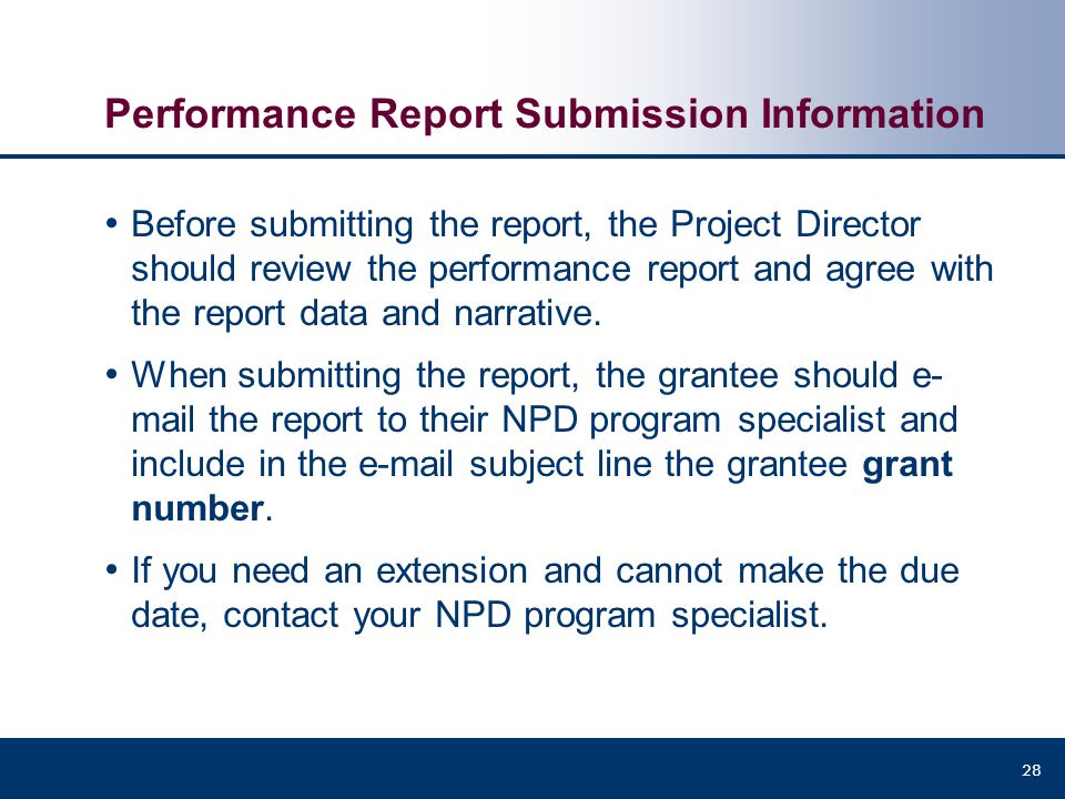 Performance Report Submission Information