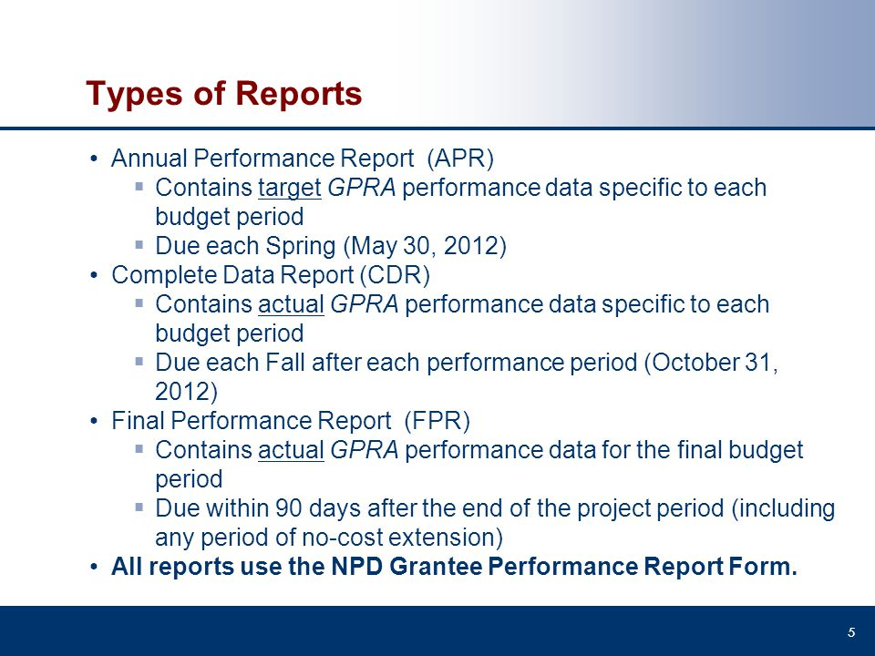 Types of Reports Annual Performance Report (APR)