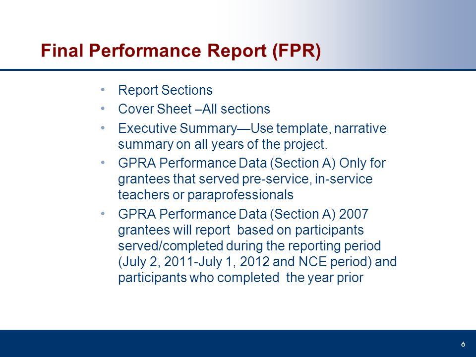 Final Performance Report (FPR)