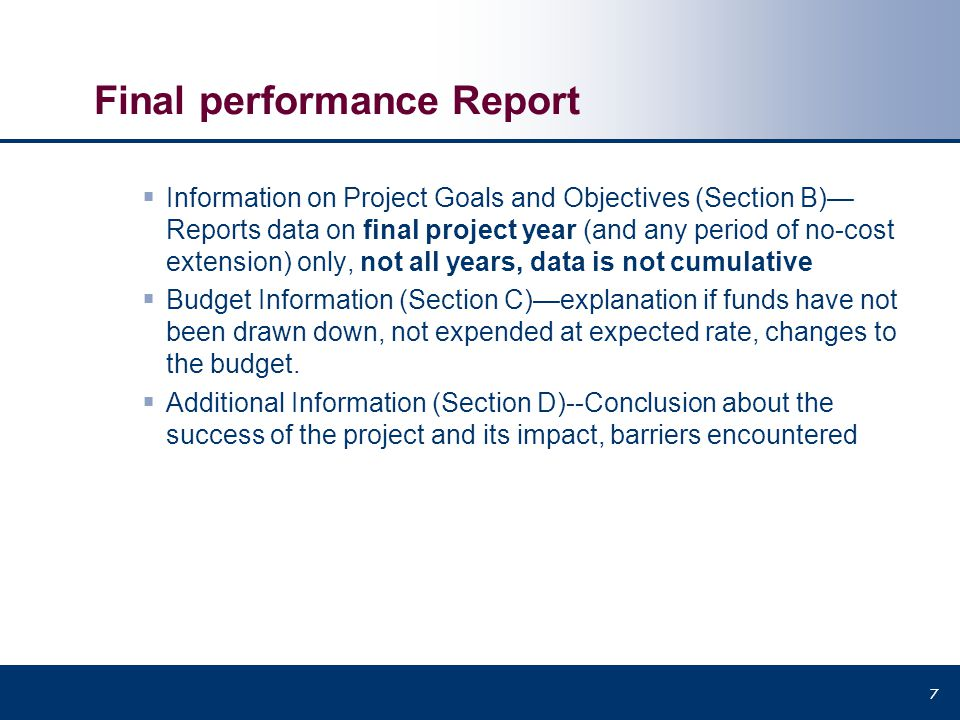 Final performance Report
