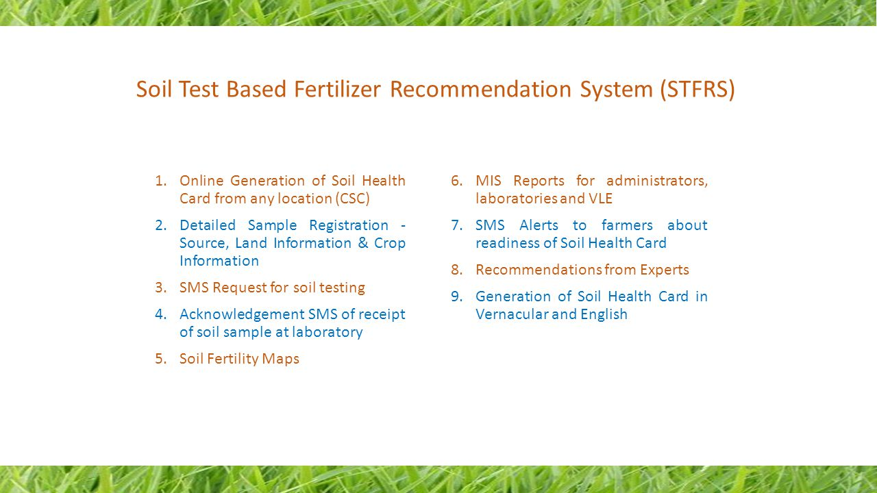 Soil Test Based Fertilizer Recommendation System (STFRS)