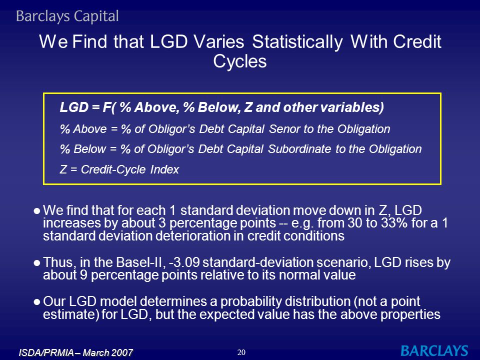 We Find that LGD Varies Statistically With Credit Cycles