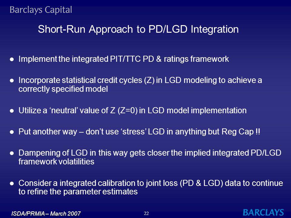 Short-Run Approach to PD/LGD Integration