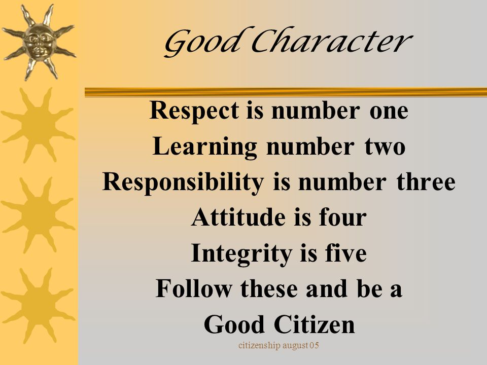 Responsibility is number three