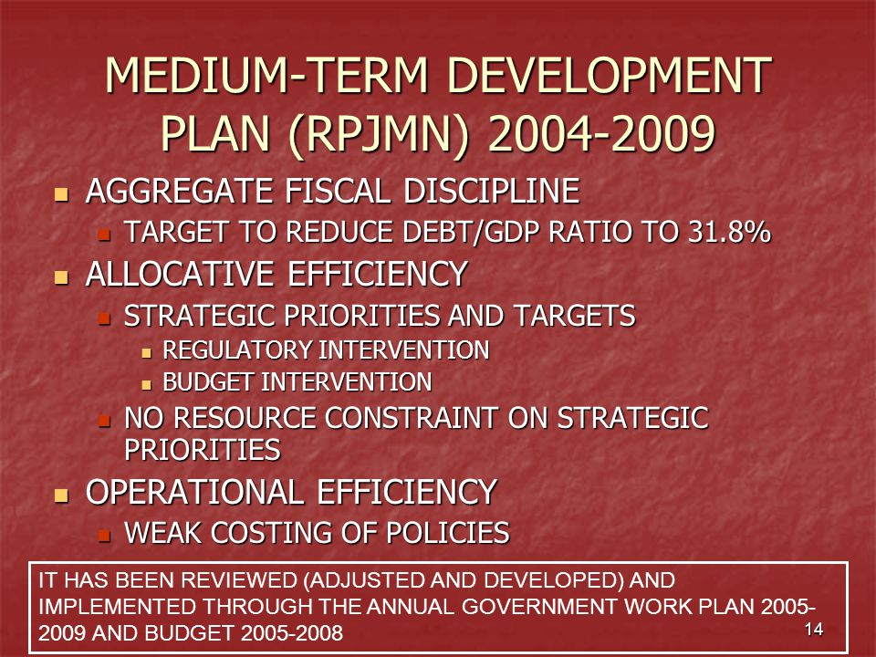 MEDIUM-TERM DEVELOPMENT PLAN (RPJMN) 2004-2009