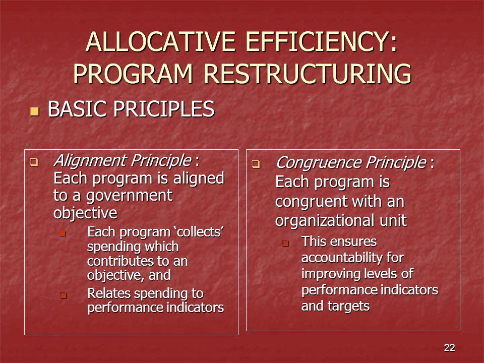 ALLOCATIVE EFFICIENCY: PROGRAM RESTRUCTURING