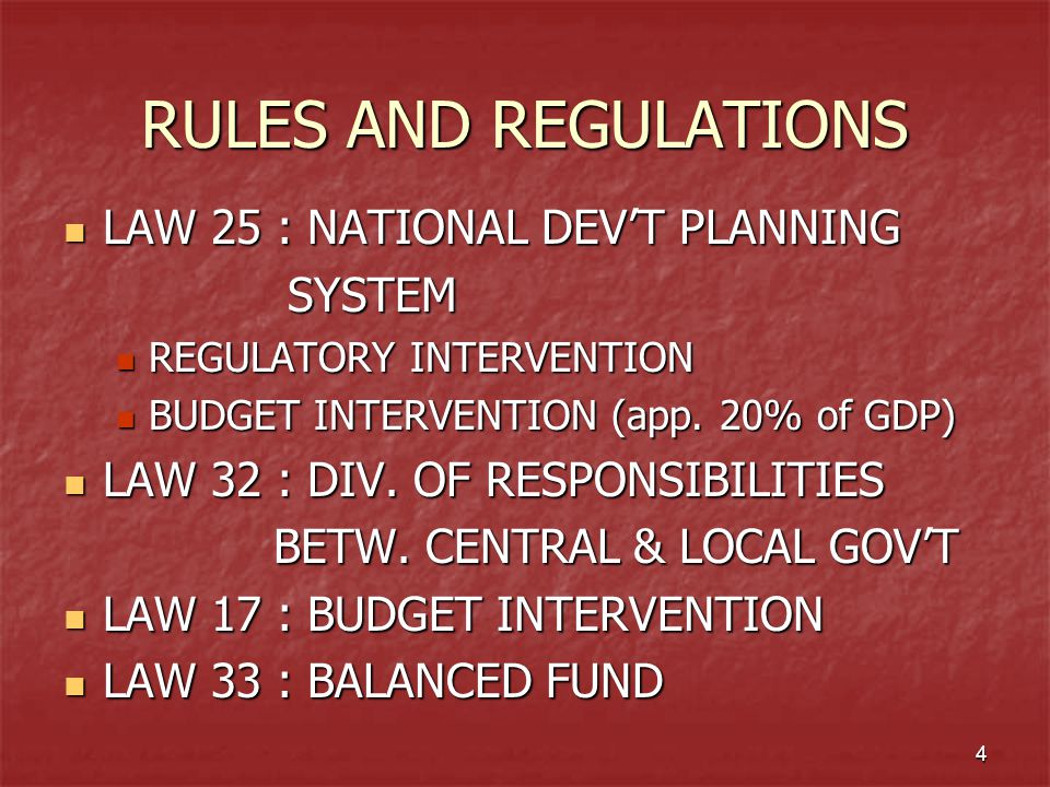 RULES AND REGULATIONS LAW 25 : NATIONAL DEV'T PLANNING SYSTEM