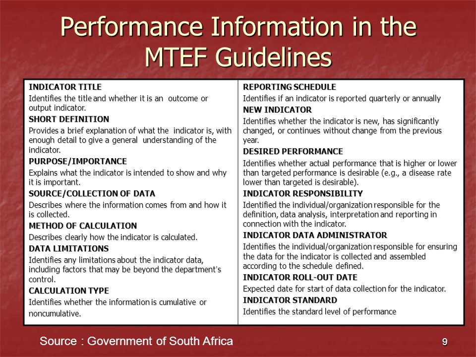 Performance Information in the MTEF Guidelines