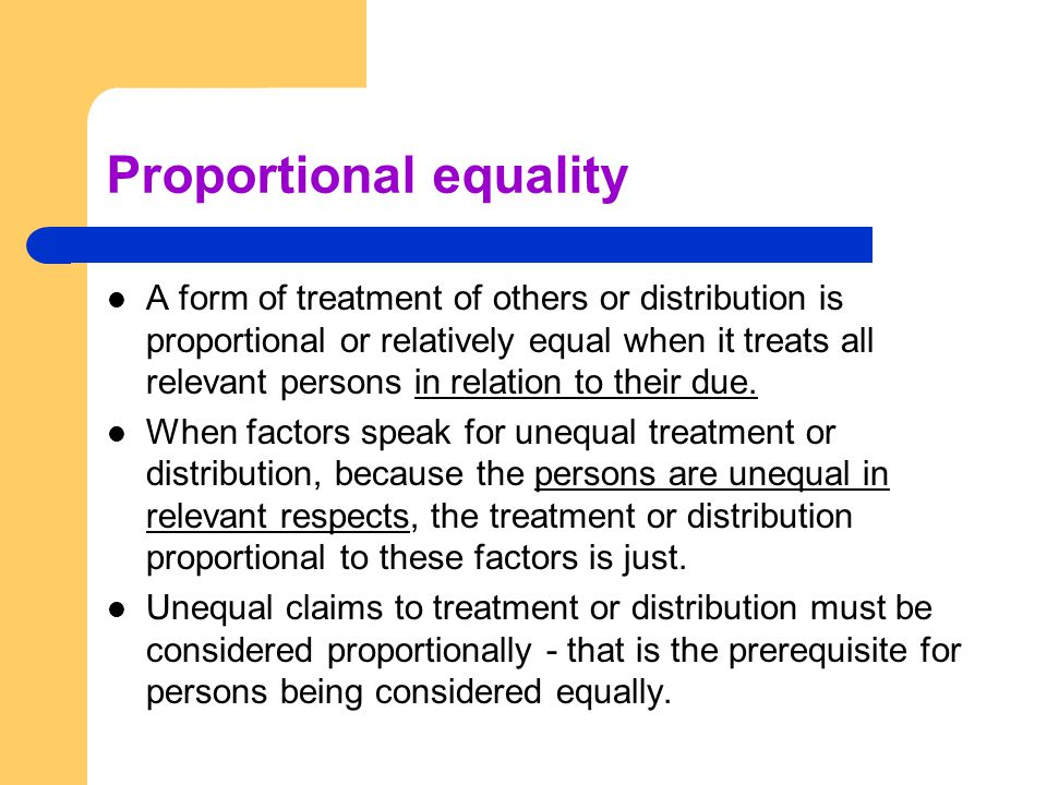 Proportional equality