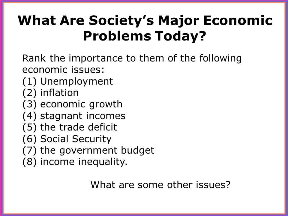 What Are Society's Major Economic Problems Today