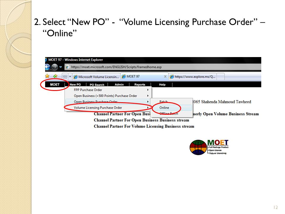 2. Select New PO - Volume Licensing Purchase Order – Online