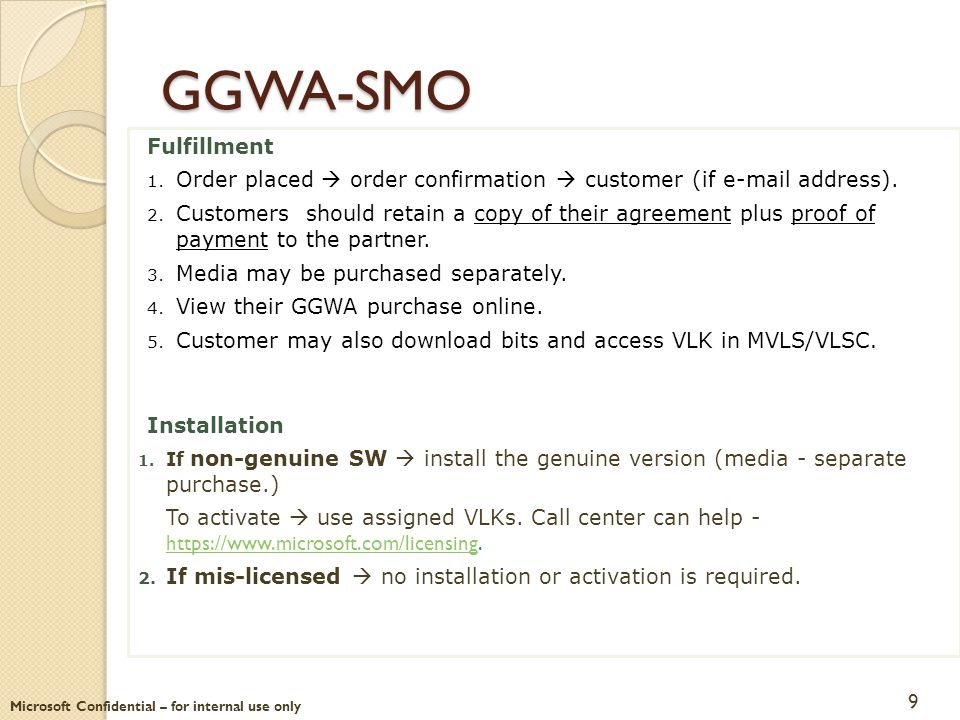 GGWA-SMO Fulfillment. Order placed  order confirmation  customer (if e-mail address).