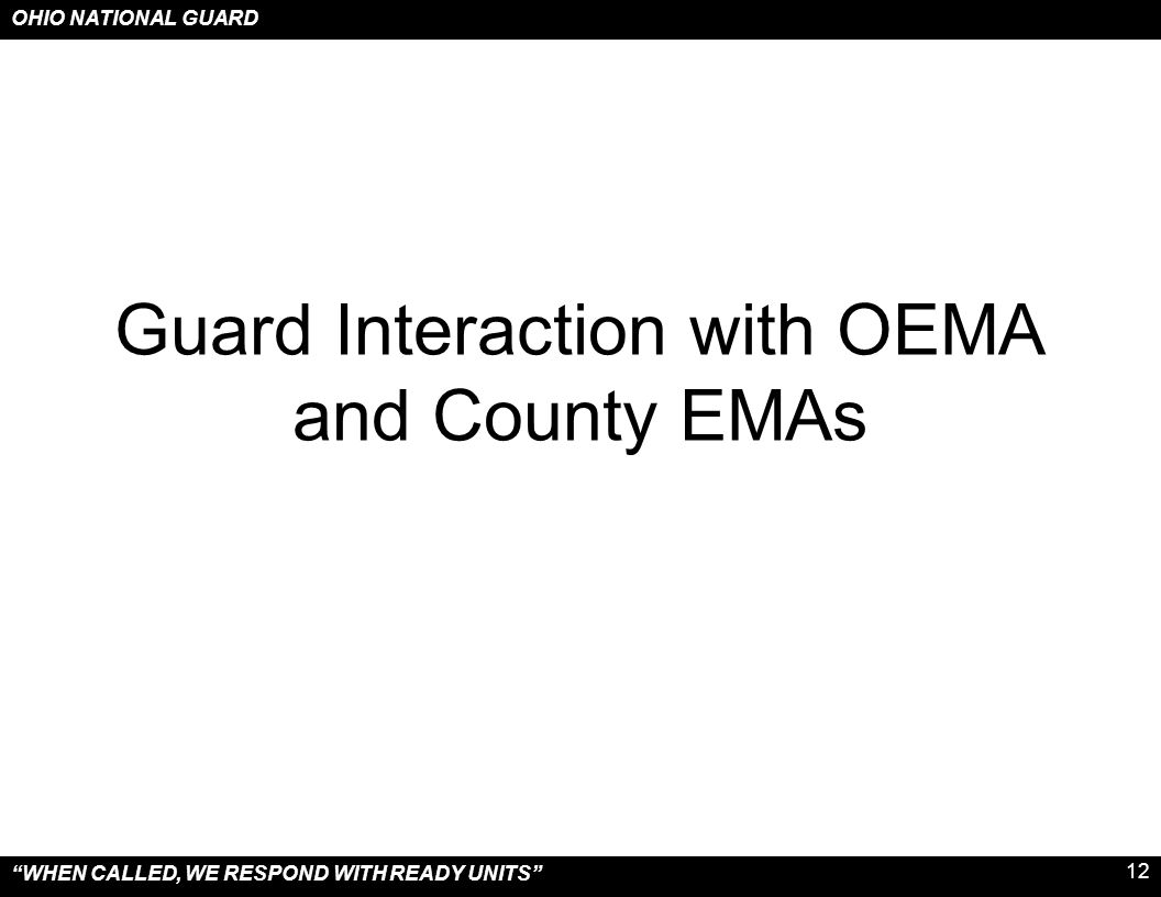 Guard Interaction with OEMA and County EMAs