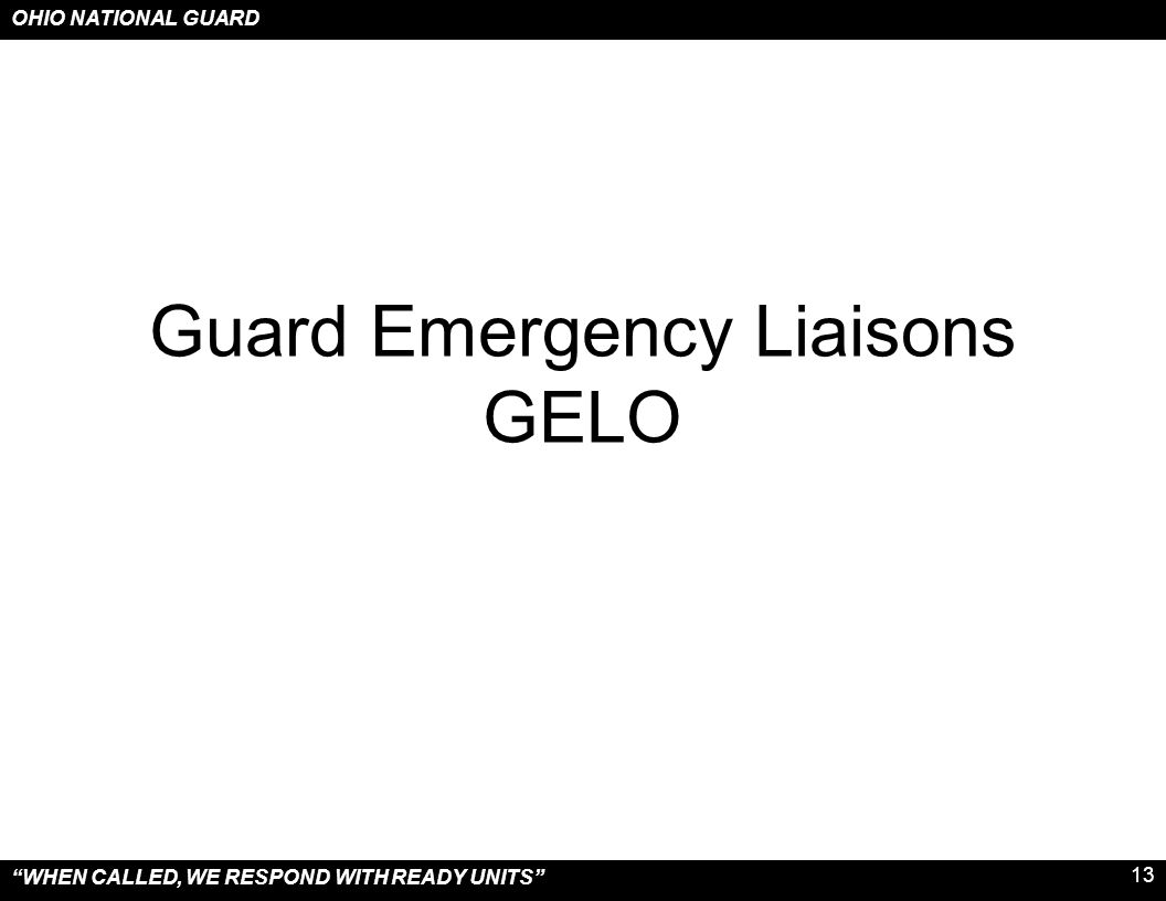 Guard Emergency Liaisons GELO