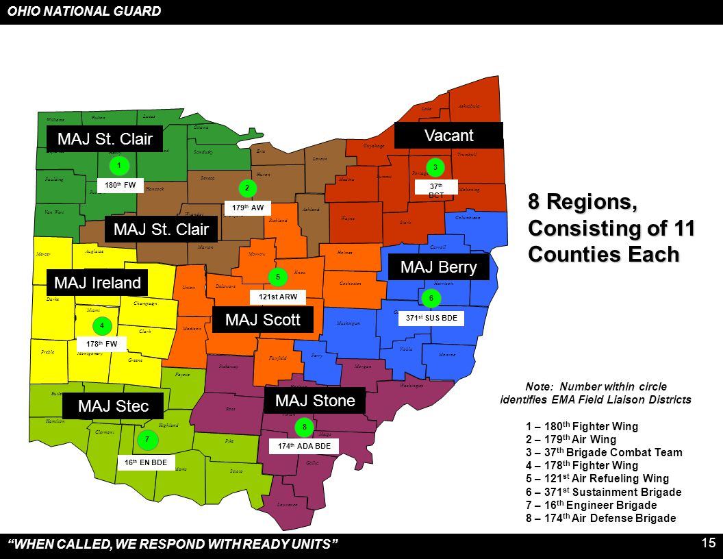 Note: Number within circle identifies EMA Field Liaison Districts