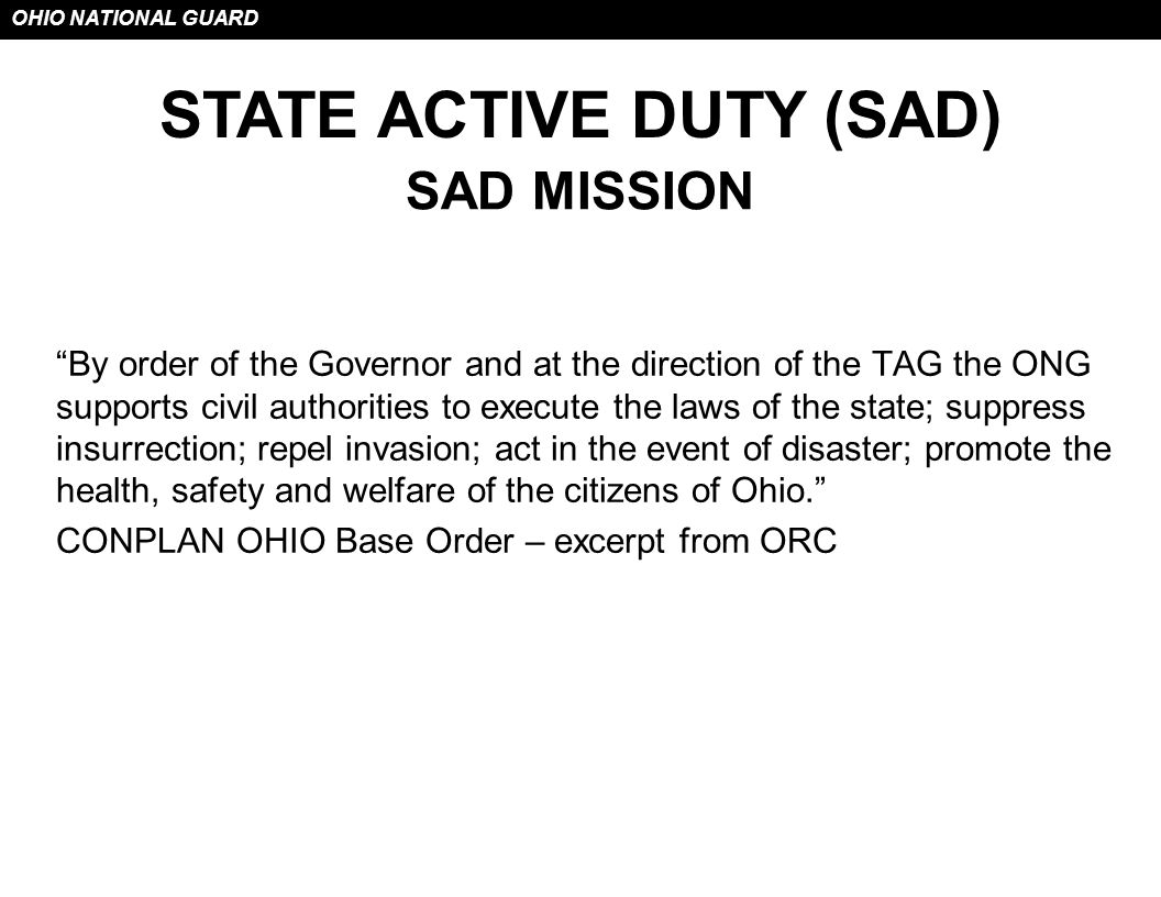 STATE ACTIVE DUTY (SAD)