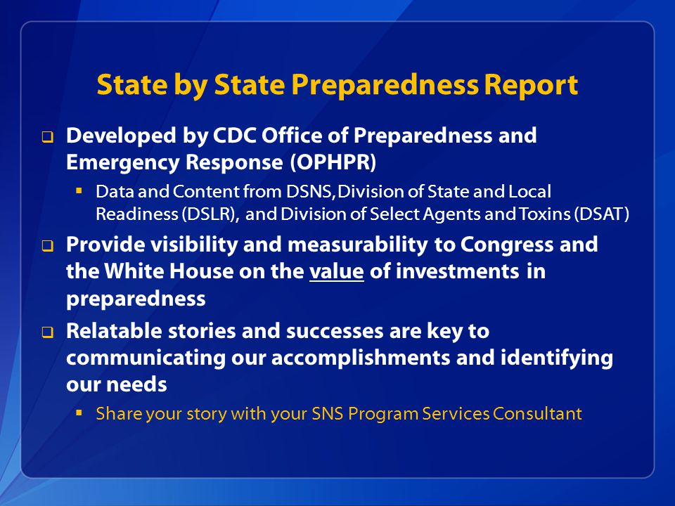 State by State Preparedness Report